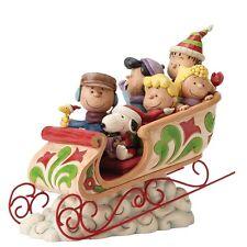 4052722 Jim Shore Peanuts Charlie Brown Snoopy & Friends on Sleigh