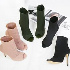 Womens Stretch Knit Bootie Casual Breathable Comfort Hollow Peep Toe Sandal Boot