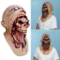 Halloween Scary Cosplay Prop Costume Melting Face Latex Adult Bloody Zombie Mask