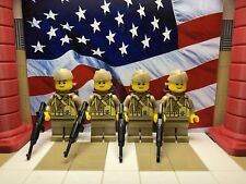 4x LEGO WWII American 29th Infantrymen with M1 Carbines and Backpacks