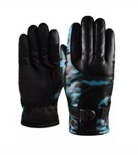 Men Women Thick Ski Windproof Gloves Winter Warm Camouflage Printed Gloves Blue