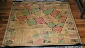 1858  Antique Merrimack County, New Hampshire Pull Down Wall Map, H. E. Walling