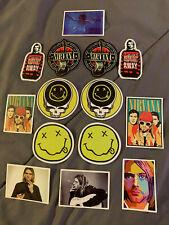 "Lot of 14 Nirvana KURT COBAIN 2"" to 3"" Band Photo Logo Stickers FAST! FREE SHIP"