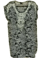 H&M Embroidered Tunic Dress Shift Size 12 Black & Grey Patterned White Floral