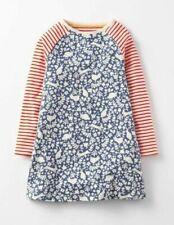 Mini Boden girls jersey hotchpotch woodland print dress stripe sleeves age 2-3