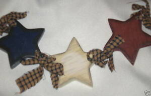 """Red White Blue Wood Star Swag country partiotic wall stars Decor 17"""" sign"""