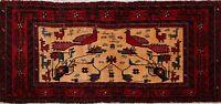 Tribal Geometric Animal Design Balouch Afghan Oriental Area Rug Hand-knotted 2x4