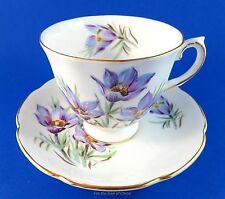 "Pretty Purple ""Manitoba Crocus"" Royal Grafton Tea Cup and Saucer Set"