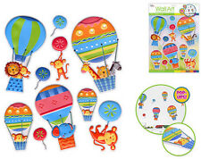 HOT AIR BALLOONS & ANIMALS 3D POP-UPS wall stickers 10 decals child decor monkey