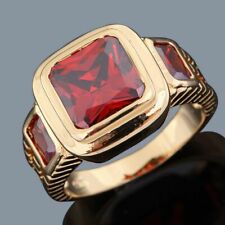 18K Gold Filled Fashion Anniversary Rings For Mens Size 7 Band Jewelry Garnet