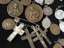 Lot de Médailles et Croix de Chapelets Religieuses Cross Medal Antique French