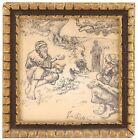 Antique Ink Pen Drawing Signed, Jewish Ethnic Theme Unfamiliar Artist Wood Frame