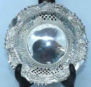 PRETTY VICTORIAN STERLING SILVER REPOUSSE BONBON NUT DISH 1895 as found