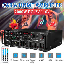 2000W HiFi bluetooth Power Amplifier Car Home Stereo Audio 2 Channel FM Amp US