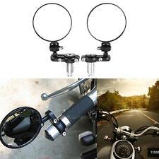 """MOTORCYCLE 3"""" ROUND 7/8"""" HANDLE BAR END MIRRORS CAFE RACER BOBBER Bike KTM BLACK"""