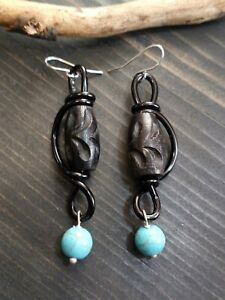 UNIQUE LG BLACK CARVED WOODEN BEADS/TURQUOISE BEAD DROP/BLACK WIRE WRAP EARRINGS