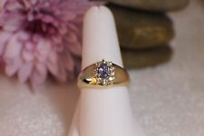 Solid 10K Yellow Gold Oval Tanzanite Halo Ring with White Sapphires sz 9 Pretty