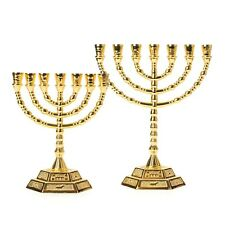 More details for gold 12 tribes icons symbol candle holder decor judaica 7 branch israel menorah