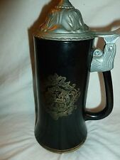 Vintage Pewter Lidded Black Glass VIP Stein Glass Mug with Love Poem on Back