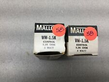 NEW IN BOX LOT OF 2 MALLORY 1.5K OHM 5 WATT POTENTIOMETER VW-1.5K