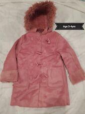 NWT Girls Dusky Pink Suede & Faux Fur Duffle Coat - Age 3-4yrs