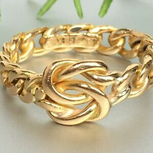 18ct GOLD KNOT RING CURB CHAIN BAND Size O - 4.38g