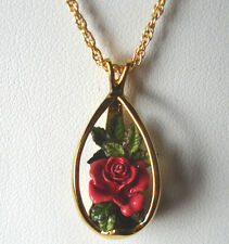 Goebel Olszewski Miniature Rose Pendant Necklace Hand Painted/Sculptured New Box