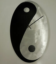 YING YANG CLOCK IN BRUSHED ALUMINIUM MADE IN THE USA BY STONEYBROOK CLOCK CO.