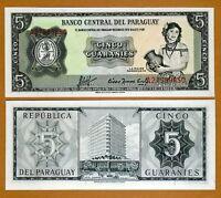 Paraguay, 5 Guaranies L. 1952, P-195 (195b) UNC