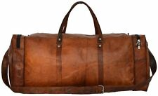 True Grit Leather Vintage Brown Mens Travel Duffel Overnight Bag Luggage 24 Inch
