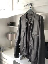 Mens River Island Brown Faux Leather Jacket Size M