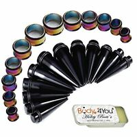 Stretching Kit Black Taper Stainless Stee; Tunnel Plug 00G-20mm Big Gauges 25PC