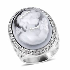 CAMEO VINTAGE LOOK CAMEO LADY GENUINE AUSTRIAN CRYSTAL ACCENT RING SIZE 9 DARK