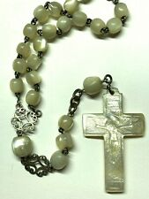 """† HTF ANTIQUE STERLING HAND CUT MORI CROSS MOTHER OF PEARL ROSARY NECKLACE 26"""" †"""