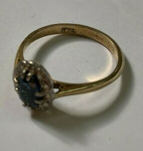 18ct Yellow Gold Ceylon Sapphire and Diamond Ring Size L