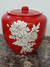 Vintage Art Deco Crown Devon Fieldings Red Lidded Jar Chrysanthemum Pattern