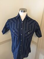 Plains Western Pearl Snap Striped Short Sleeve SS Shirt Men's Small S Sm Pockets