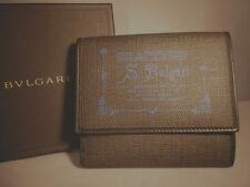 Ladies BVLGARI Black+Blue Leather+Manmade Trifold Wallet Purse