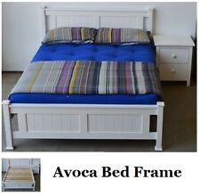 DOUBLE BED FRAME SOLID TIMBER AVOCA IN WHITE