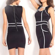 Women Black/White Celeb Bodycon Stretch Slim Mini Dress Geometric Line Clubwear