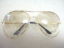 AVIATOR SUNGLASSES EXTRA LARGE CLEAR FLASH MIRROR LENS OVER SIZED GOLD FRAME