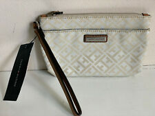 NEW! TOMMY HILFIGER BEIGE BROWN WALLET CLUTCH POUCH WRISTLET BAG PURSE $24 SALE