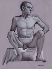 ORIGINAL male nude charcoal drawing sketch study wall art figure a4 toned paper