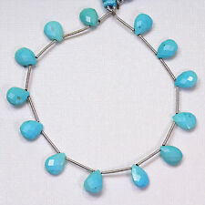 Sleeping Beauty Turquoise Faceted Pear Briolette 7.8 inch strand