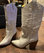 Womens New Look Limited Edition White Leather Cowboy Boots Size 6
