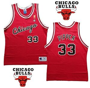 CHICAGO BULLS Jersey Champion Vintage Retro Red Gold NBA Jordan SCOTTIE PIPPEN