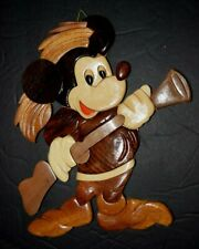 """Vintage Carved Wooden Mickey Mouse """"The Hunter,"""" 7.00"""" x 8.50"""" Wall Hanging, New"""