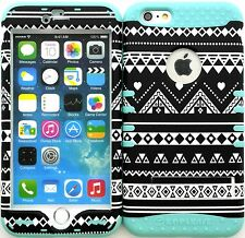 """Hybrid Impact Cover Case Iphone 6 Plus 5.5"""" BW Tribal Aztec C Baby Teal"""
