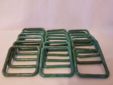 "Lot of 20 Square 4"" Four Inch Moss Green Plastic Marbella Macrame Craft Rings"