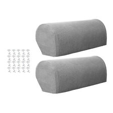 Sofa Armrest Cover Stretch Fabric for Couch Armchair Recliner Light Gray